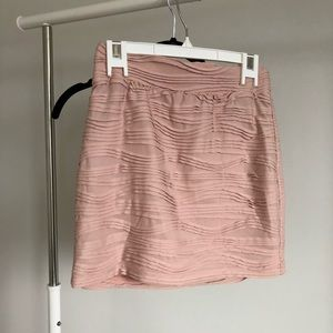 Baby Pink Bodycon Skirt with Ruffle Detail